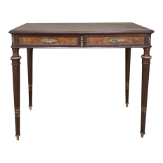19th Century Louis XVI Bronze Mounted Mahogany Writing Table by Schmit of Paris