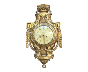 19th Century Swedish Giltwood Wall Clock ~ Cartel