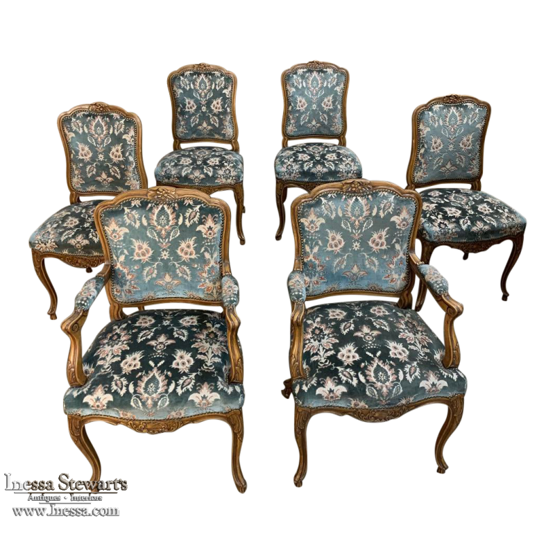 Set Of 6 Antique Louis Xv Dining Chairs, Louis Xv Furniture