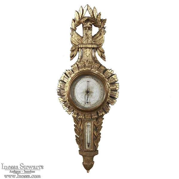18th Century French Louis XVI Giltwood Barometer ~ Thermometer