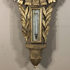 18th Century French Louis XVI Giltwood Barometer ~ Thermometer~ Thermometer