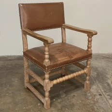 Rustic Country French Armchair with Leather