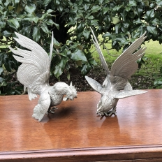Pair Antique Cast Brass Rooster Bookends