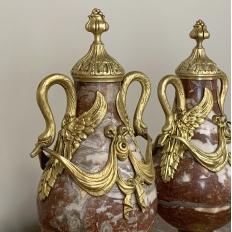 Pair 19th Century Marble & Bronze Cassolettes