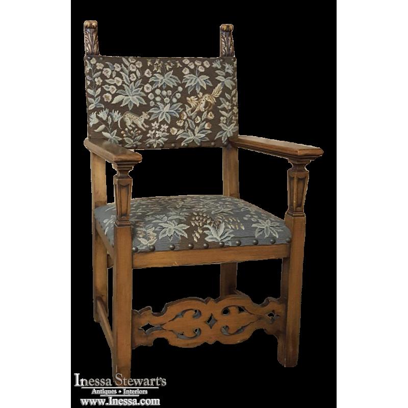 19th Century Italian Tuscan Armchair with Needlepoint