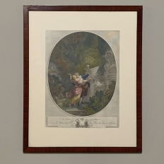 Antique Framed Hand-Painted Engraving