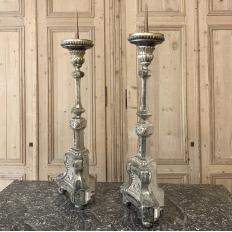 Pair Candlesticks, 18th Century Italian Church Altar Neoclassical Silver Gilt