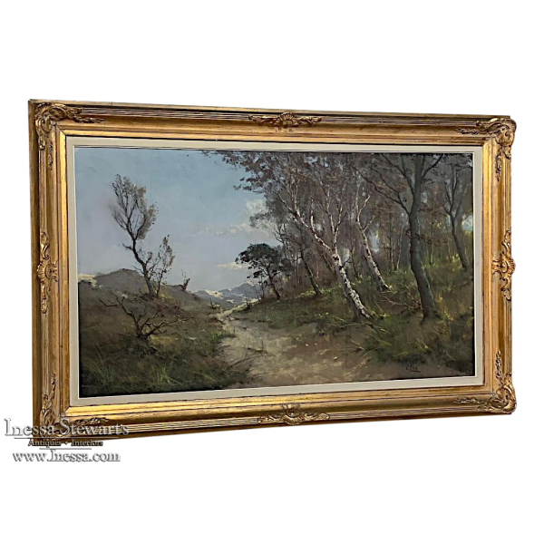 Antique Framed Oil Painting on Canvas by Gastin Cox