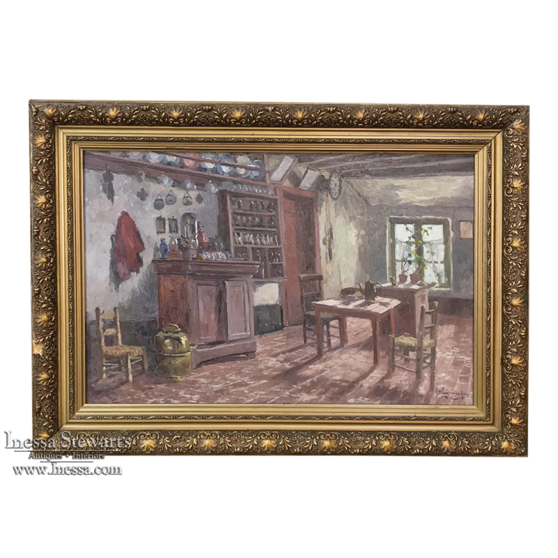 Antique Framed Oil Painting on Canvas by Victor Waegemaeckers