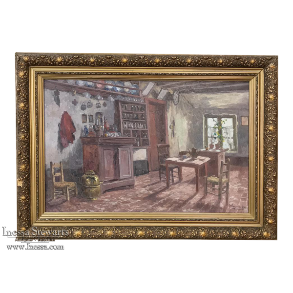Framed Oil Painting on Canvas by Victor Waegemaeckers, ca. 1890s