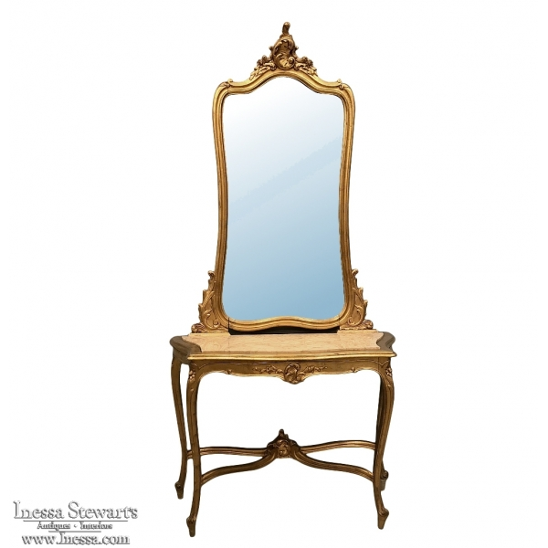 Console - Mirror, 19th Century Italian Rococo Giltwood with Marble Top
