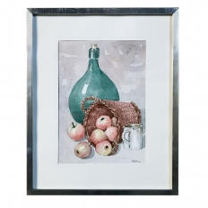 Mid-Century Hand Painted Watercolor Still Life by Pol Antonis