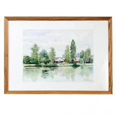 Mid-Century Hand Painted Watercolor by Pol Antonis