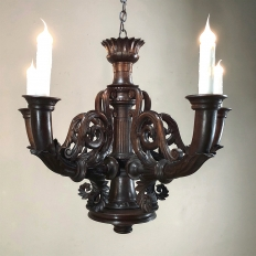 Chandelier, Antique French Louis XIV Hand Carved Wood