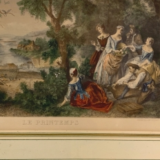 Framed Engraving, Antique French, Hand-Colored ~ 'Springtime'