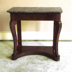 Console, 19th Century French Louis Philippe Period in Mahogany with Marble Top