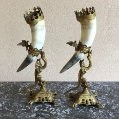 Pair Bookends, 19th Century Bronze-Mounted Horn