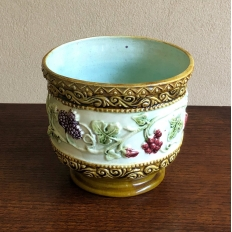 Antique Cachet Pot, Hand-Painted Earthenware