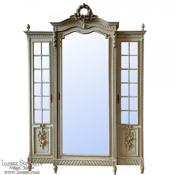 French Louis XVI Painted Triple Armoire, ca 1890s