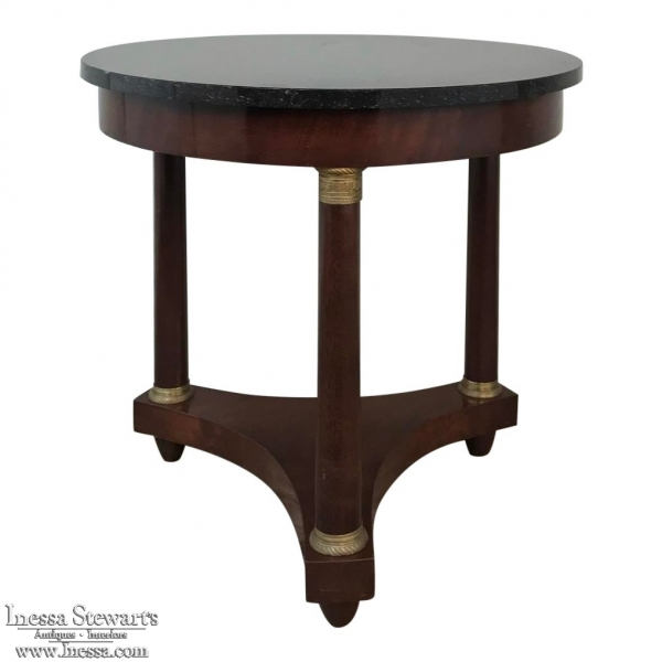 19th Century French Napoleon Iii Period Marble Top End Table Gueridon
