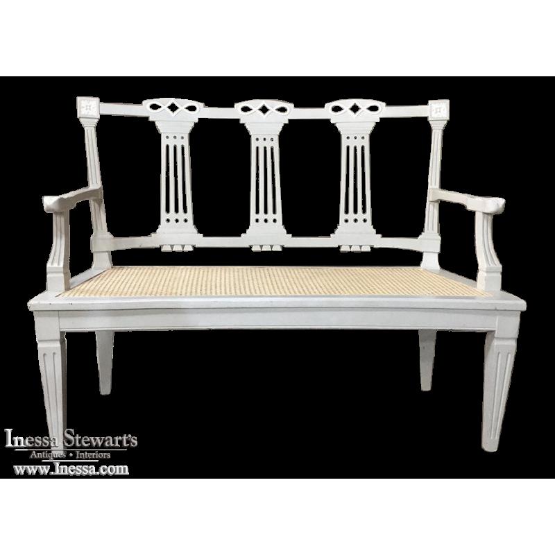 19th Century Swedish Louis XVI Painted & Caned Sofa