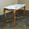 19th Century French Louis XV Marble Top Giltwood Table