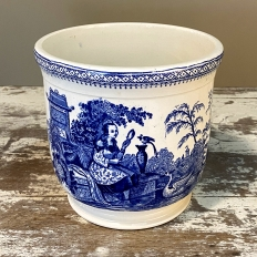 Antique Blue & White Transferware Jardiniere