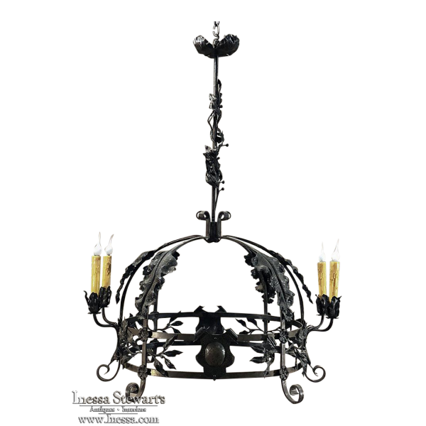 Antique Hand Forged Italian Wrought Iron Chandelier