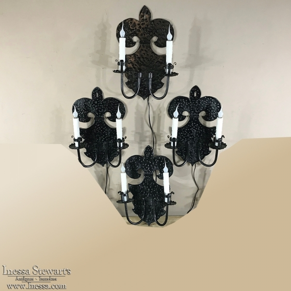 19th Century Fleur de Lys Iron Wall Sconce (4 available, sold EACH)