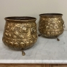 Pair 19th Century Embossed Brass Jardinieres