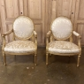 Pair 19th Century French Louis XVI Gilded Armchairs ~ Fauteuils