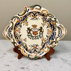 Antique Decorative French Faience Plate from Brittany