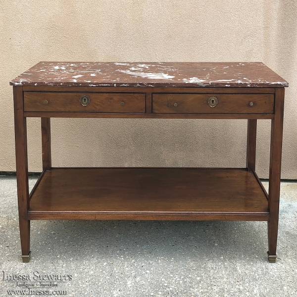 19th Century French Directoire Marble Top Low Buffet ~ Console
