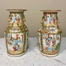 Pair Antique Rose Medallion Porcelain Vases