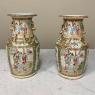 Pair Antique Rose Medallion Porcelain Vases