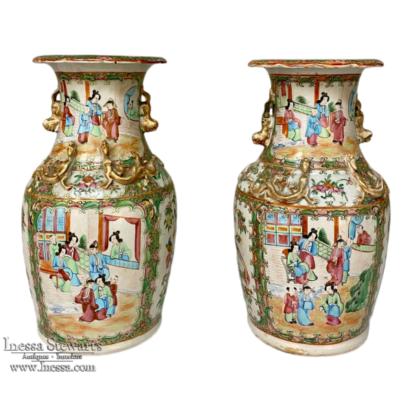Pair 19th Century Rose Medallion Porcelain Vases