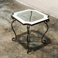 Wrought Iron and Frosted Glass End Table