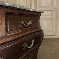 Antique Italian Mahogany Bombe Marble Top Commode