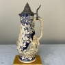 Antique German Hand-Painted Beer Stein with Hinged Pewter Lid
