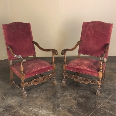 Pair 19th Century French Louis XIII Fauteuils ~ Armchairs
