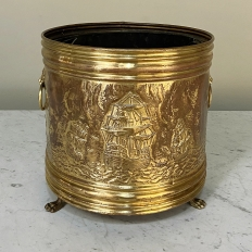 19th Century Embossed Brass Footed Jardiniere
