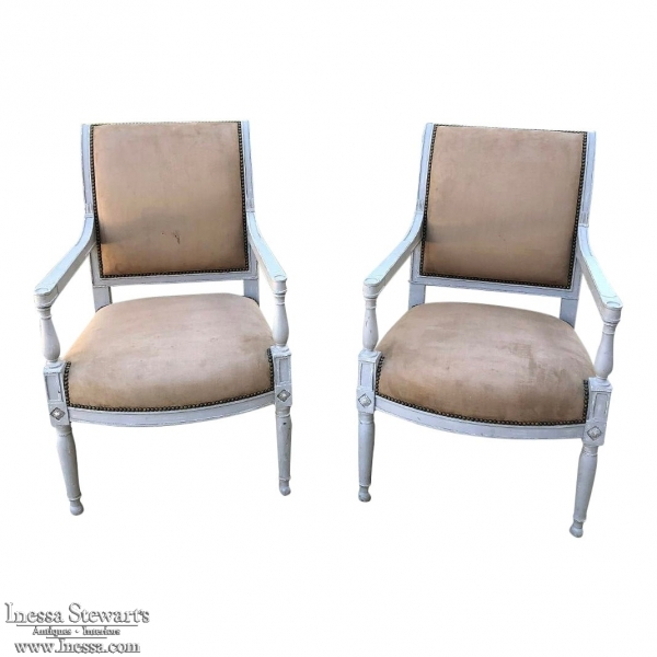 Pair 19th Century French Louis XVI Painted Armchairs