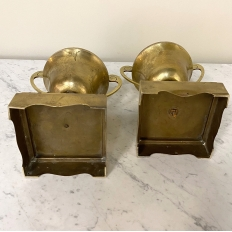 Pair 19th Century Brass Trophy Urns
