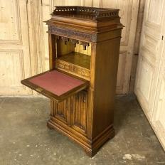 19th Century French Gothic Walnut Secretary ~ Cabinet