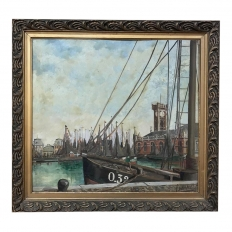 Antique Framed Oil Painting on Board by Windel