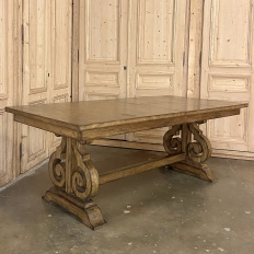 Rustic Louis XIV Style Dining Table With Fold Out Leaf, Seats 8-10