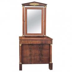 19th Century French Empire Mahogany Dresser with Mirror