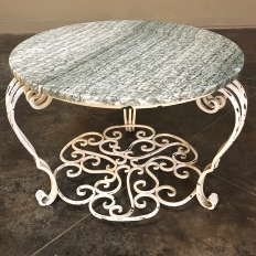 Mid-Century French Painted Wrought Iron Marble Top Cocktail Table