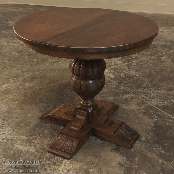 Antique Oak Round Coffee Table ~ Lamp Table
