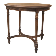 Antique French Walnut Louis XVI Oval End Table